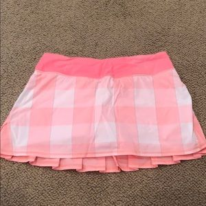 Salmon/Peach Colored Lululemon Mini Skirt (Size 6)